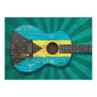Aged and Worn Bahamas Flag Acoustic Guitar, teal Card