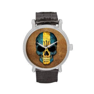 Aged and Worn Barbados Flag Skull Wristwatch