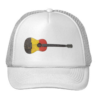 Aged and Worn Belgian Flag Acoustic Guitar Trucker Hats