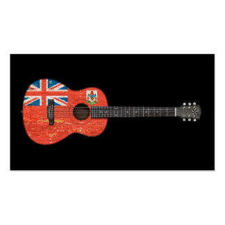 Aged and Worn Bermuda Flag Acoustic Guitar, black Business Card Templates