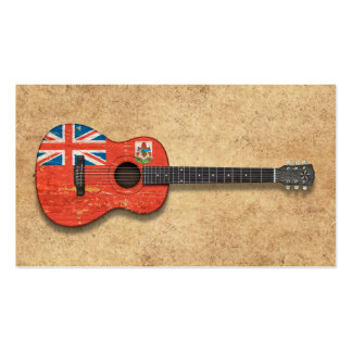 Aged and Worn Bermuda Flag Acoustic Guitar Business Cards