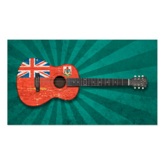 Aged and Worn Bermuda Flag Acoustic Guitar, teal Business Card