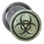 Aged and Worn Bio Hazard Circle with Steel Effect 3 Inch Round Button
