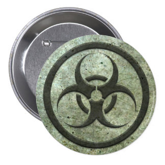 Aged and Worn Bio Hazard Circle with Steel Effect Button