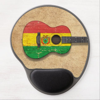 Aged and Worn Bolivian Flag Acoustic Guitar Gel Mouse Pad
