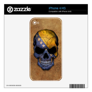 Aged and Worn Bosnia - Herzegovina Flag Skull Decal For iPhone 4