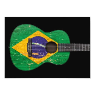 Aged and Worn Brazilian Flag Acoustic Guitar, blac Custom Invites