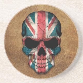 Aged and Worn British Flag Skull Coaster
