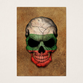 Aged and Worn Bulgarian Flag Skull Business Card
