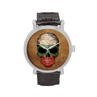 Aged and Worn Bulgarian Flag Skull Wrist Watch