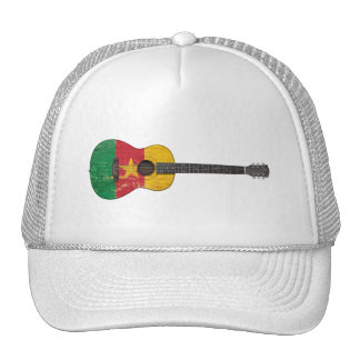 Aged and Worn Cameroon Flag Acoustic Guitar Trucker Hats