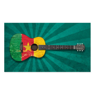 Aged and Worn Cameroon Flag Acoustic Guitar, teal Double-Sided Standard Business Cards (Pack Of 100)