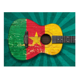 Aged and Worn Cameroon Flag Acoustic Guitar, teal Postcard
