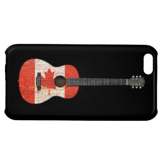 Aged and Worn Canadian Flag Acoustic Guitar, black iPhone 5C Cases