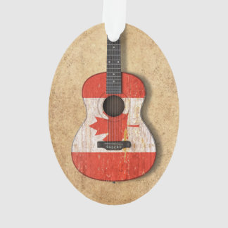 Aged and Worn Canadian Flag Acoustic Guitar Ornament