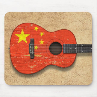 Aged and Worn Chinese Flag Acoustic Guitar Mouse Pad