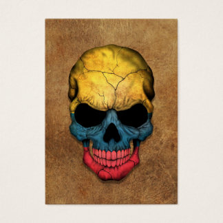 Aged and Worn Colombian Flag Skull Business Card