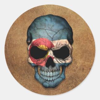 Aged and Worn Colorado Flag Skull Round Sticker