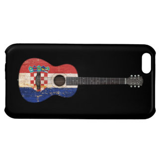 Aged and Worn Croatian Flag Acoustic Guitar, black iPhone 5C Cases