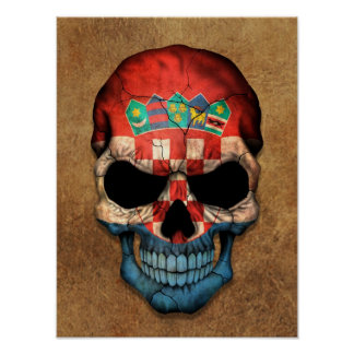 Aged and Worn Croatian Flag Skull Poster