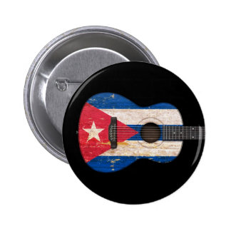 Aged and Worn Cuban Flag Acoustic Guitar, black Button