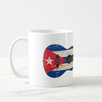 Aged and Worn Cuban Flag Acoustic Guitar Coffee Mug
