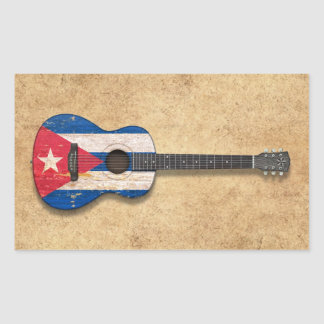 Aged and Worn Cuban Flag Acoustic Guitar Rectangular Sticker