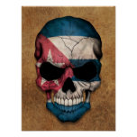 Aged and Worn Cuban Flag Skull Poster
