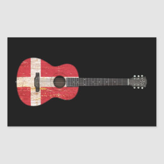 Aged and Worn Danish Flag Acoustic Guitar, black Rectangle Sticker