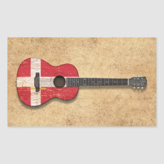 Aged and Worn Danish Flag Acoustic Guitar Stickers