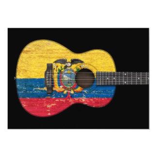 Aged and Worn Ecuadorian Flag Acoustic Guitar, bla 5x7 Paper Invitation Card