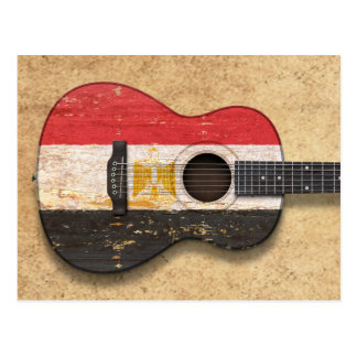 Aged and Worn Egyptian Flag Acoustic Guitar Postcard