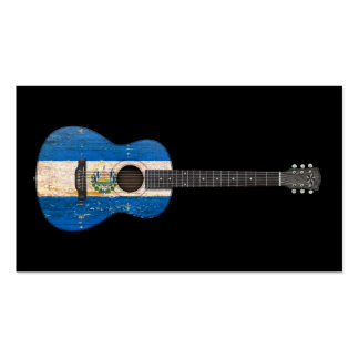 Aged and Worn El Salvador Flag Acoustic Guitar, bl Business Card