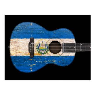 Aged and Worn El Salvador Flag Acoustic Guitar, bl Postcard