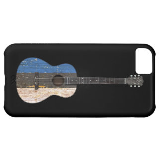 Aged and Worn Estonian Flag Acoustic Guitar, black Case For iPhone 5C