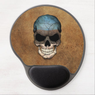 Aged and Worn Estonian Flag Skull Gel Mouse Pad