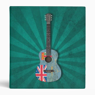 Aged and Worn Fiji Flag Acoustic Guitar, teal Binders