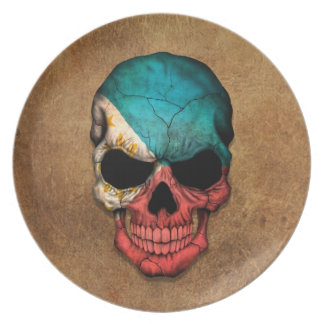 Aged and Worn Filipino Flag Skull Dinner Plate