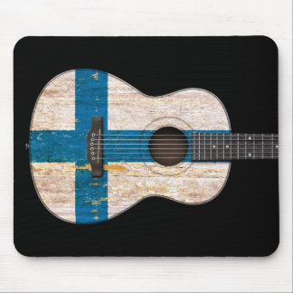 Aged and Worn Finnish Flag Acoustic Guitar, black Mouse Pad