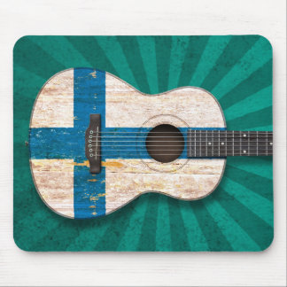 Aged and Worn Finnish Flag Acoustic Guitar, teal Mouse Pad