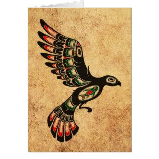 Aged and Worn Flying Haida Spirit Bird Greeting Cards