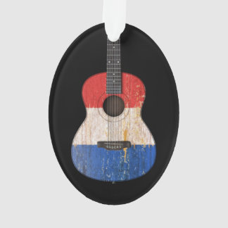 Aged and Worn French Flag Acoustic Guitar, black Ornament