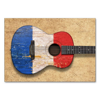 Aged and Worn French Flag Acoustic Guitar Card