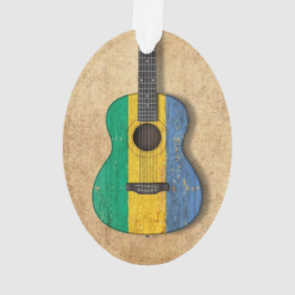 Aged and Worn Gabon Flag Acoustic Guitar Ornament
