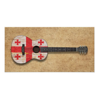 Aged and Worn Georgian Flag Acoustic Guitar Posters