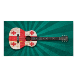 Aged and Worn Georgian Flag Acoustic Guitar, teal Poster