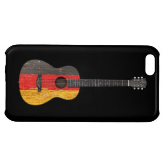 Aged and Worn German Flag Acoustic Guitar, black iPhone 5C Case