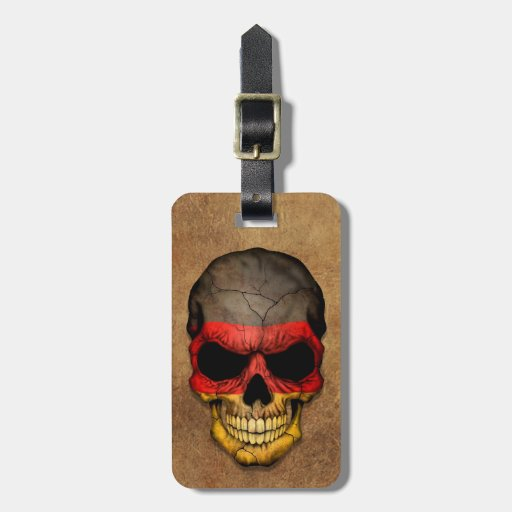 Aged and Worn German Flag Skull Travel Bag Tag