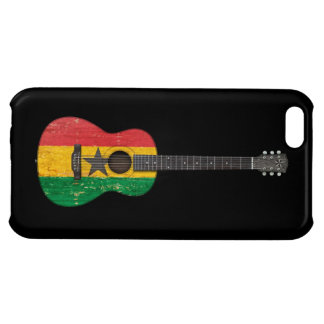 Aged and Worn Ghana Flag Acoustic Guitar, black iPhone 5C Cases