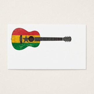 Aged and Worn Ghana Flag Acoustic Guitar Business Card